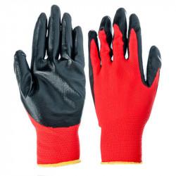 Перчатки нейлоновые с нитриловымобливом (красно-черные)
