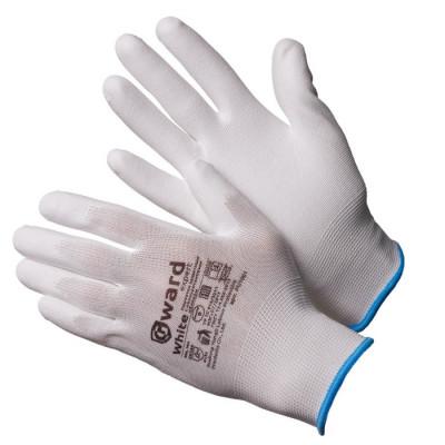 Перчатки Gward White нейлоновые белые с белым полиуретаном